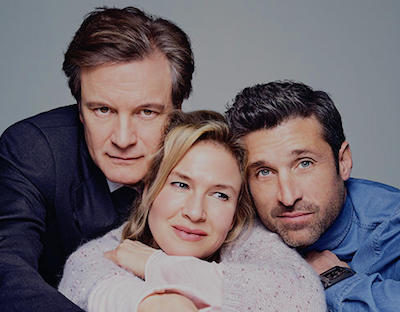 Cast photo for Bridget Jones's Baby, 2016: (l-r) Colin Firth, Renee Zellweger and Patrick Dempsey