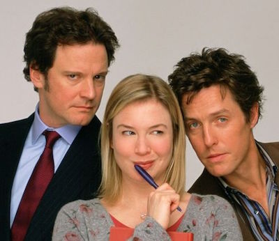 Cast photo for Bridget Jones's Diary, 2001: (l-r) Colin Firth, Renee Zellweger and Hugh Grant